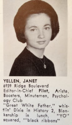 Yearbook photo of Janet Yellen attached.